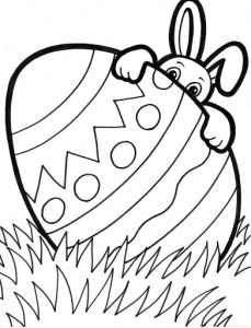 Peeking Easter bunny free printable coloring pages