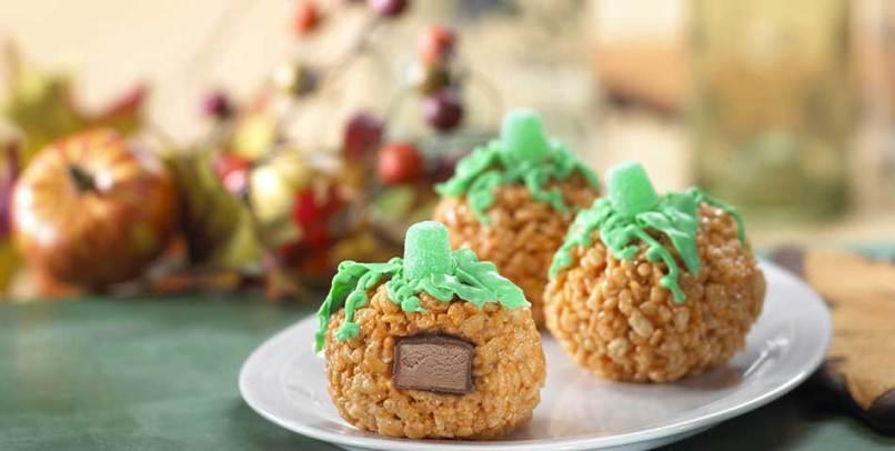 halloween party food ideas rice krispies surprise pumpkin treats