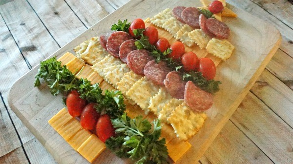 Easy Sausage, Crackers and Cheese Tray - Holiday food ideas