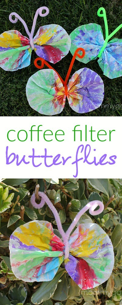 Spring crafts for kids coffee filter butterfly craft - make these coffee filter butterflies with watercolor paints and pipe cleaners!