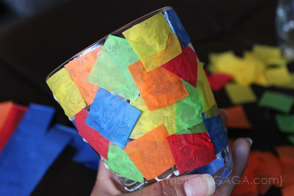 Candle Craft Glued on Tissue Paper