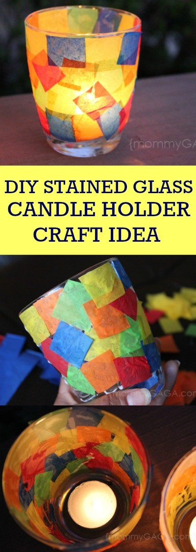 DIY stained glass candle holder craft idea - this is an easy candle craft using tissue paper squares and a votive. Love it!