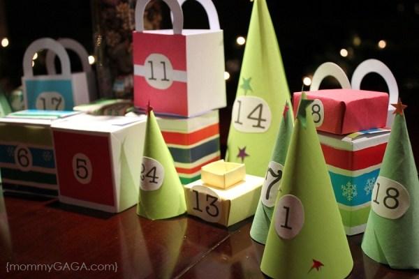 Homemade paper Christmas advent calendar village