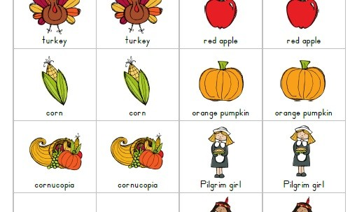 Thanksgiving Printable Matching Game for kids