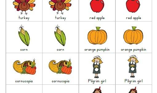 Thanksgiving Printable Matching Game for kids