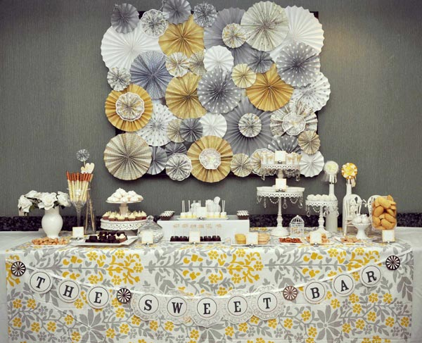 Vintage Yellow Gray Baby Shower Theme