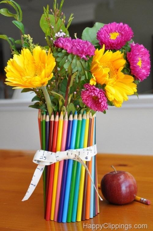DIY Colored Pencil Vase Gift