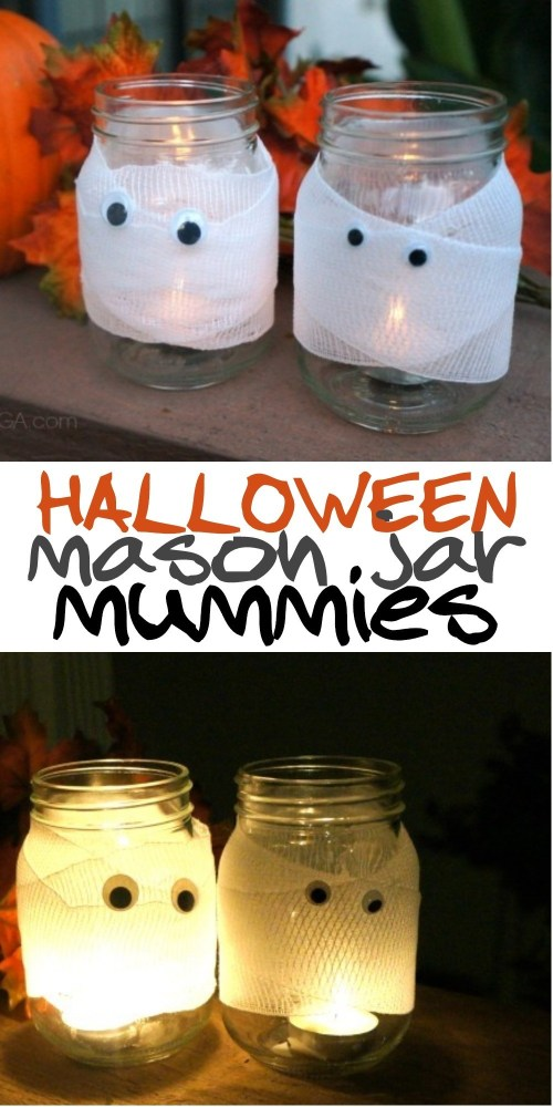 DIY Halloween Decor- Spooky Halloween Mason Jar Mummy Candles