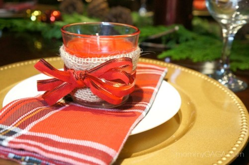 DIY Holiday Candle Favor for your Christmas Table Place Setting