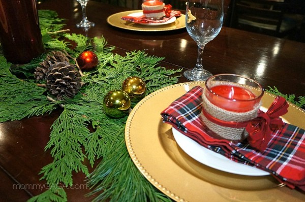 Holiday Table Setting for Christmas Dinner