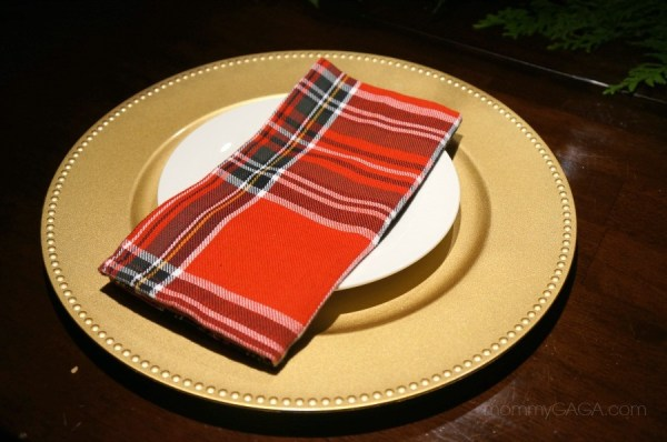 Putting together a holiday table place setting