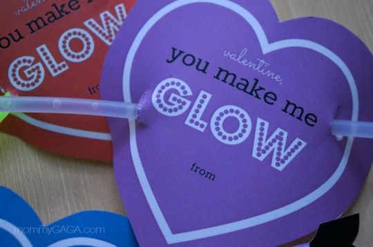 DIY You Make Me Glow Valentines for Kids