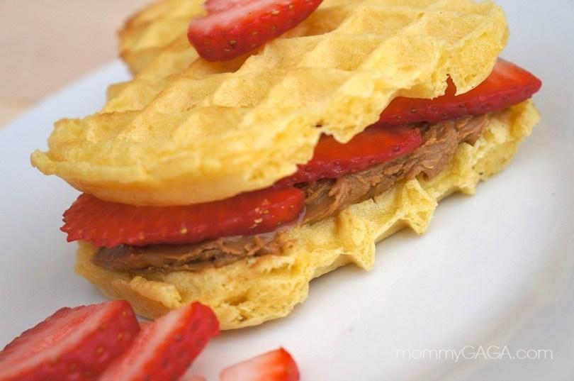 Strawberry cookie butter heart waffles