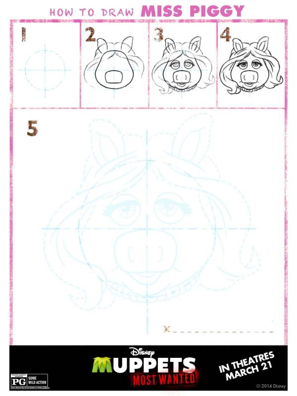 The Muppets - How to draw Miss Piggy