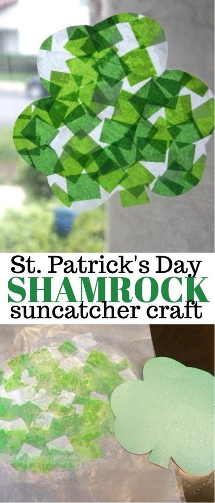 St Patricks Day Craft - Shamrock Stained Glass Art Suncatcher with Tissue Paper | shamrock crafts | shamrock suncatcher | shamrock crafts for kids | st patty's day crafts | honeyandlime.co