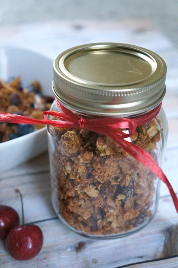 Homemade Cherry Pistachio Granola in A Jar
