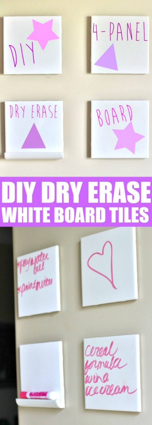 Make Your Own DIY Dry Erase White Board Tiles Craft - I love this idea, it would be perfect for the kitchen wall