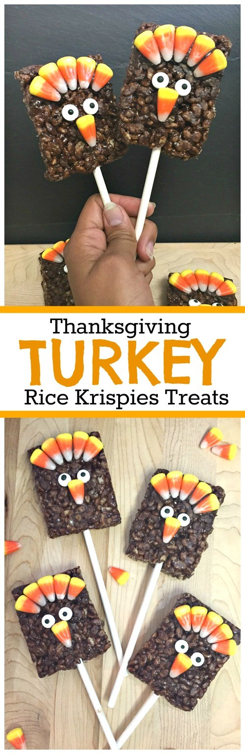 How to make Thanksgiving Turkey Rice Krispies Treats on a Stick