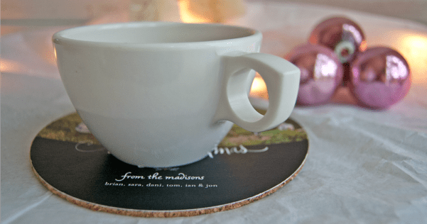 Make your own DIY holiday photo coasters out of holiday cards