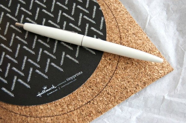 Making DIY Coasters, trace and cut the cork