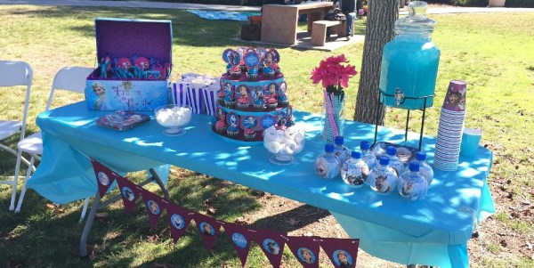 Disney's Frozen Birthday Party Ideas - a Frozen dessert table