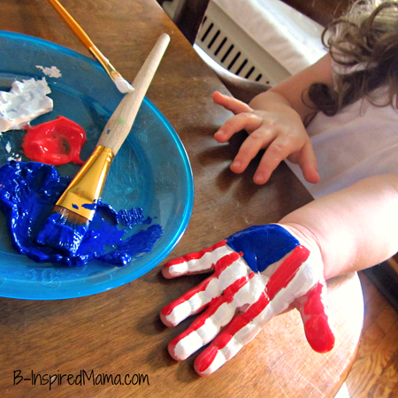 Patriotic hand print 4th of July crafts for kids
