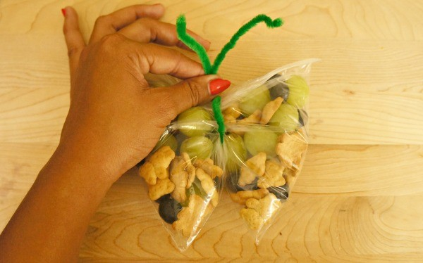 Butterfly snack bags with pipe cleaners