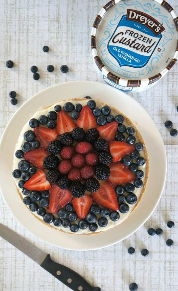 No-Bake Summer Dessert recipes: Frozen Mixed Berry Custard Pie