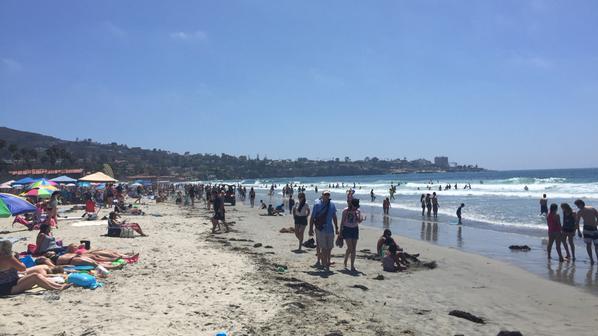La Jolla Shores Beach in San Diego on a busy summer day