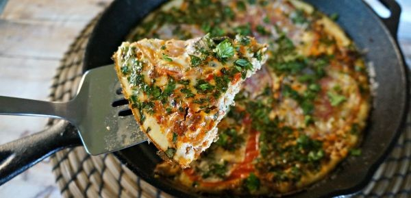 Gourmet Soy Chorizo and Veggie Frittata with Heirloom Tomatoes and herbs