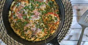 Soy Chorizo and Veggie Frittata Skillet with Heirloom Tomato