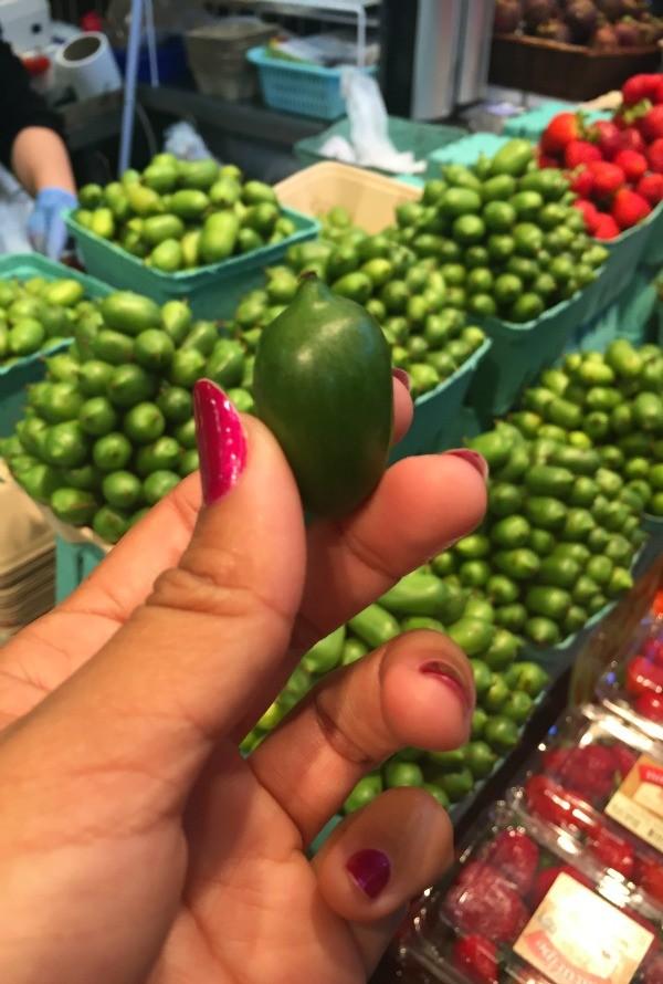 Vancouver BC, Canada, kiwi berry at Granville Island market