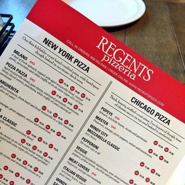 Regents Pizzeria Menu, San Diego, CA