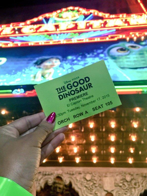 Ticket for Disney-Pixar's THE GOOD DINOSAUR movie premiere At El Capitan Theatre 11-17-15