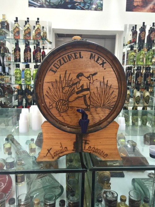 Barrel of tequila in San Miguel, Cozumel, Mexico, honey+lime