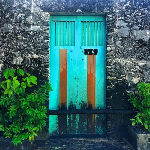 Beautiful turquoise door in San Miguel, Cozumel, Mexico, honey+lime