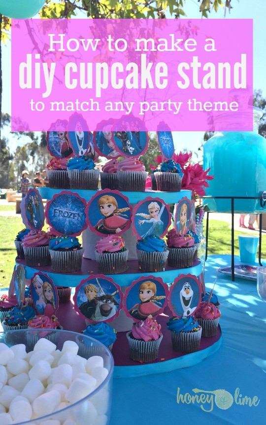 Learn how to make any birthday party theme DIY cupcake stand