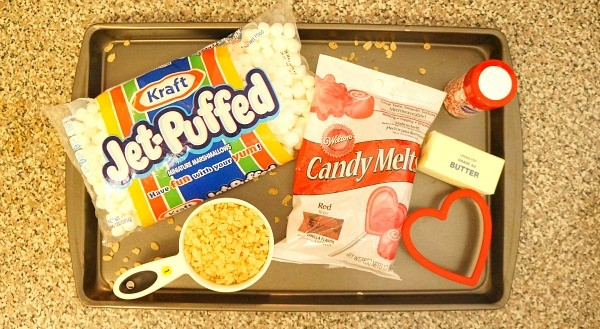Valentines Day Treats, How to make Chocolate Dipped Rice Krispies Treat Hearts, ingredients