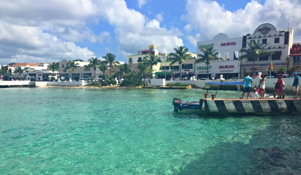 View of Downtown San Miguel Cozumel, Mexico from the boat dock