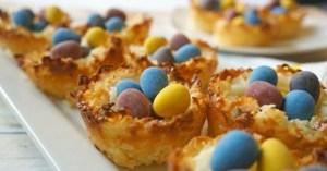 Easter activities for kids - coconut macaroon birds nest cookies, so cute!