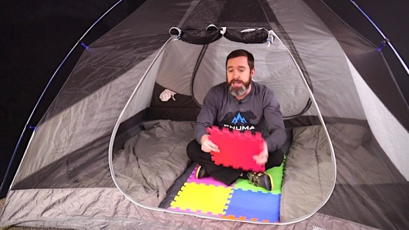 Camping with foam tiles on the tent floor
