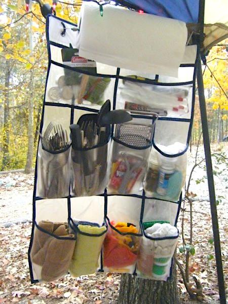 DIY Camping hacks Kitchen Organizer