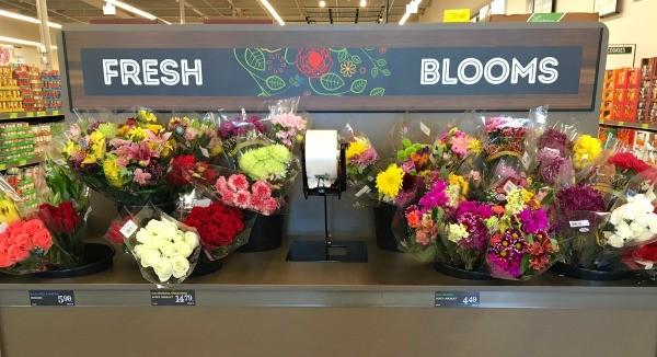 Fresh flowers inside ALDI food market in Vista, California