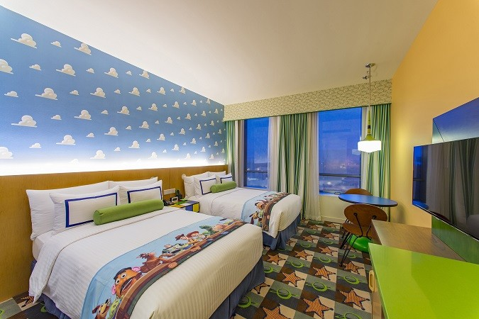 """Guest rooms at the Toy Story Hotel are filled with fun around every corner, with 800 themed rooms featuring a touch of Disney magic and elements of the """"Toy Story"""" films. Guests will be entertained every minute of their stay, even in the elevators with help from a few favorite """"Toy Story"""" characters. The Toy Story Hotel is one of two resorts located at Shanghai Disney Resort. (Matt Stroshane, photographer)"""