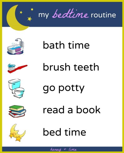 Free printable bedtime routine chart for kids - My bedtime routine printable chart, great visual way to help your child remember what to do before bed time