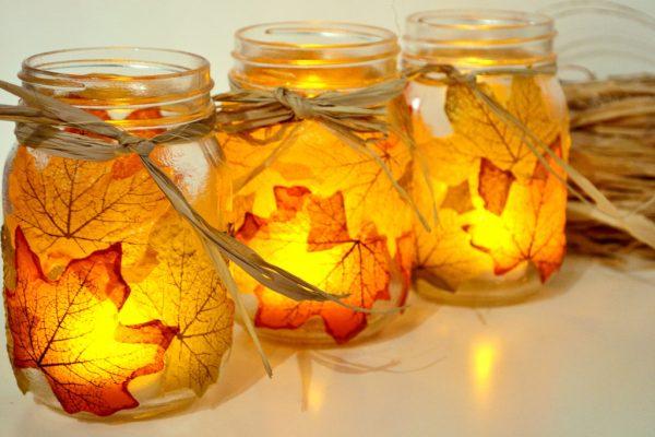 Autumn Leaf Mason Jars candle holders