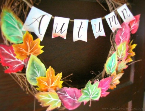 diy-fall-home-decor-ideas-autumn-watercolor-wreath
