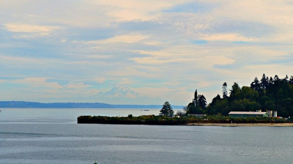 A day trip to Bainbridge Island - View of Bainbridge Island foilage from the Washington State Ferry dock