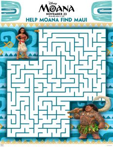 Disney's Moana coloring pages and activity sheets maze