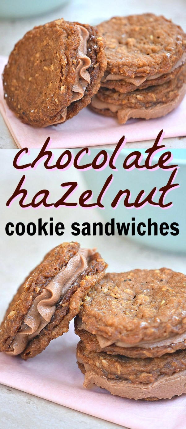 Love this chocolate hazelnut cookies sandwiches recipe! It uses oats, real cocoa powder, and hazelnuts in the frosting, what a delicious cookie recipe!